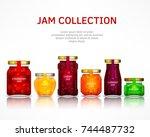 fruit jam collection  natural... | Shutterstock .eps vector #744487732