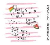 cute t shirt design in doodle... | Shutterstock .eps vector #744489235