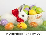 cute baby rabbit and a small... | Shutterstock . vector #74449408