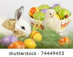 easter set up with one adorable ... | Shutterstock . vector #74449453