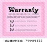 pink vintage warranty...   Shutterstock .eps vector #744495586