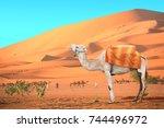 caravan of camels in sahara... | Shutterstock . vector #744496972