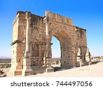 ancient arch of caracalla ... | Shutterstock . vector #744497056