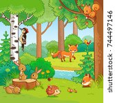 animals in the forest. vector... | Shutterstock .eps vector #744497146