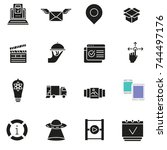 vector set of basic icons... | Shutterstock .eps vector #744497176