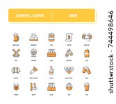 line icons set. beer pack....