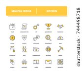 line icons set. bitcoin pack.... | Shutterstock .eps vector #744498718
