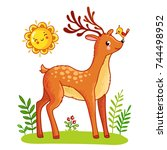 cute deer stands on the meadow. ...   Shutterstock .eps vector #744498952