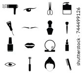beauty icon set | Shutterstock .eps vector #744499126