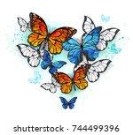 realistic butterflies  blue... | Shutterstock . vector #744499396