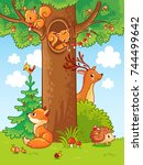 cute vector illustration with... | Shutterstock .eps vector #744499642