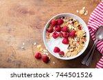 healthy breakfast. fresh... | Shutterstock . vector #744501526
