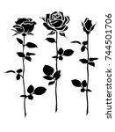 decorative set of rose with... | Shutterstock .eps vector #744501706