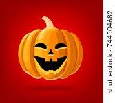 happy face halloween pumpkin... | Shutterstock .eps vector #744504682