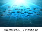 shoal of sea fish. swimming... | Shutterstock .eps vector #744505612
