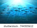 shoal of sea fish. swimming... | Shutterstock .eps vector #744505612