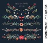 christmas decorative borders... | Shutterstock .eps vector #744506755