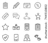 thin line icon set   clipboard  ... | Shutterstock .eps vector #744510802
