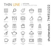 collection of kitchen thin line ... | Shutterstock .eps vector #744511222