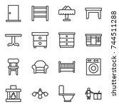 thin line icon set   door  rack ... | Shutterstock .eps vector #744511288
