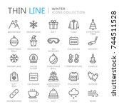 collection of winter thin line... | Shutterstock .eps vector #744511528
