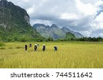 vang vieng  laos   oct 13  ... | Shutterstock . vector #744511642