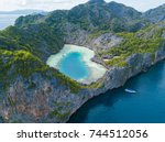 aerial view of cocks comb... | Shutterstock . vector #744512056