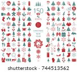 christmas  new year holidays... | Shutterstock .eps vector #744513562