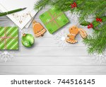 christmas vector top view... | Shutterstock .eps vector #744516145
