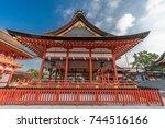 Stock photo fushimi inari taisha shinto shrine early morning without tourists side view of gai haiden outer 744516166