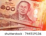 close up of thai banknote thai... | Shutterstock . vector #744519136