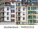 detail of the facade of... | Shutterstock . vector #744521512