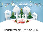 christmas tree with beautiful... | Shutterstock .eps vector #744523342