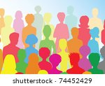 colorful crowd | Shutterstock .eps vector #74452429