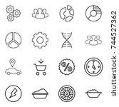 thin line icon set   gear ... | Shutterstock .eps vector #744527362