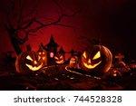 halloween pumpkins of nightly...   Shutterstock . vector #744528328