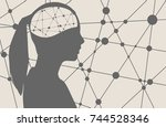 silhouette of a woman's head.... | Shutterstock .eps vector #744528346
