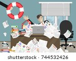 businessman sticks out of a... | Shutterstock .eps vector #744532426