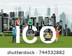 ico  concept illustration... | Shutterstock .eps vector #744532882