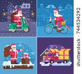 christmas gift delivery concept ... | Shutterstock .eps vector #744534292