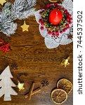 christmas background | Shutterstock . vector #744537502