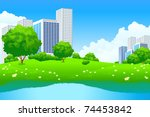 green city landscape with tree... | Shutterstock .eps vector #74453842