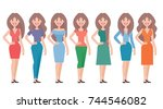 woman in different clothes.... | Shutterstock . vector #744546082