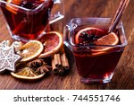 mulled wine and spices on... | Shutterstock . vector #744551746