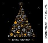 christmas tree decoration ... | Shutterstock .eps vector #744553396