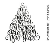 merry christmas and happy new y ...   Shutterstock .eps vector #744553408