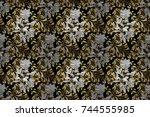 golden element on black  white... | Shutterstock . vector #744555985