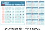 vector monthly calendar... | Shutterstock .eps vector #744558922