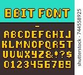pixel video game fun alphabet... | Shutterstock .eps vector #744558925