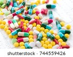 mixed colorful pharmaceutical... | Shutterstock . vector #744559426